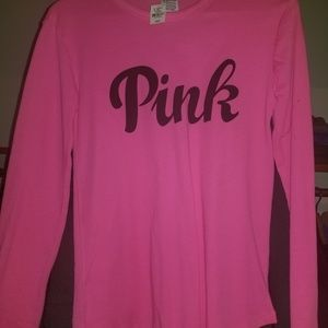 PINK VS long sleeve with Black logo